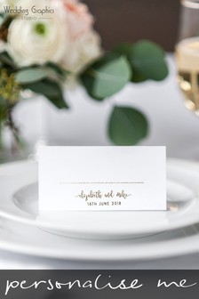Personalised Script Foil Table Place Card by Wedding Graphics
