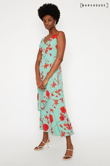 Warehouse Red Floral Ruffle Maxi Dress
