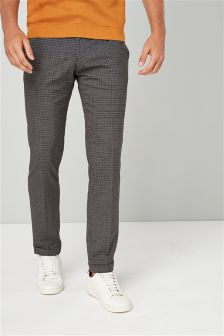 Brushed Check Skinny Fit Trousers