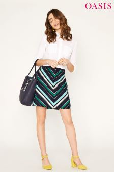 Oasis Navy Napoli Stripe Mini Skirt