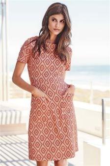 Rochie din jacard cu imprimeu geometric