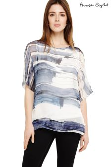 Phase Eight Pitch Blue/White Miriam Paint Stripe Silk Blouse