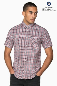Ben Sherman Red Short Sleeve Graduated Gingham Shirt
