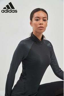adidas Black Alpha Skin Sport Long Sleeve Tee