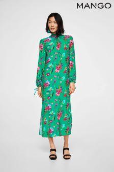 Mango Green Floral Printed Midi Dress