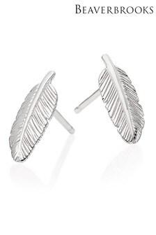 Beaverbrooks Silver Feather Stud Earrings