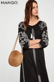 Mango Black Boho Midi Dress