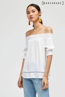Warehouse White Cheesecloth Bardot Top