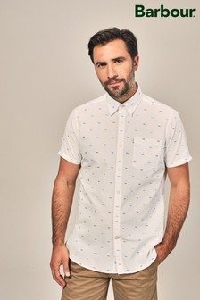 Barbour® White Fish Print Short Sleeve Shirt