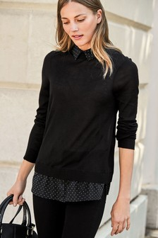 Woven Collar Layer Top