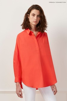 French Connection Red Laselle Poplin Concealed Placket Shirt