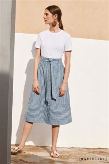 Warehouse Blue Stripe Button Stripe Linen Blend Skirt