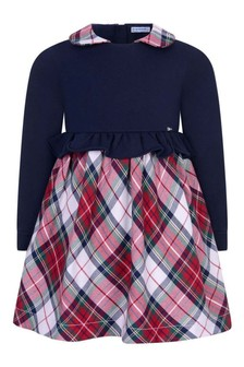 Mayoral Baby Girls Navy And Tartan Dress