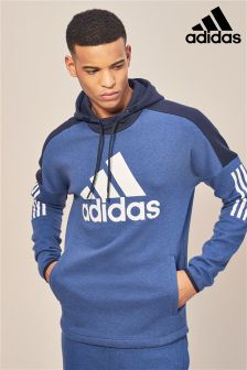 adidas Blue Logo Fleece Pullover Hoody