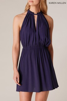 Karen Millen Blue Palma High Neck Dress