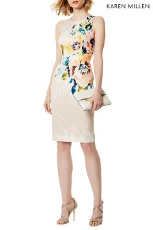 Karen Milen Pink Hand Painted Floral Pencil Dress