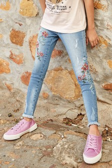 Floral Embroidered Skinny Jeans (3-16yrs)