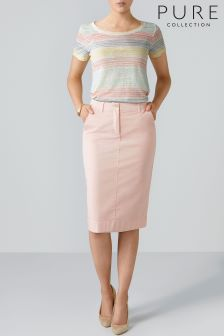 Pure Collection Pink Cotton Chino Skirt