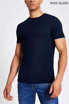 River Island Navy Muscle T-Shirt