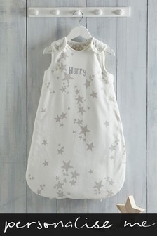 Personalised White Stars Sleepbag 2.5 Tog