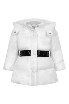 Baby Girls White Padded Jacket