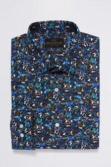 Signature Texta Fabric Printed Regular Fit Shirt