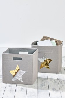 Set of 2 Sequin Star Storage Cubes