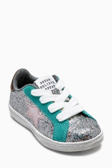 Lace-Up Glitter Trainers (Younger)