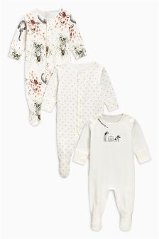 Delicate Safari Character Sleepsuits Three Pack (0mths-2yrs)