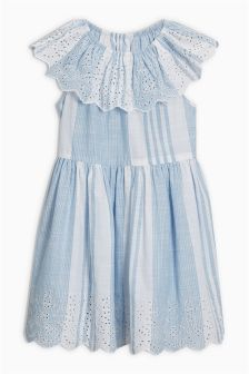 Stripe Broderie Dress (3-16yrs)
