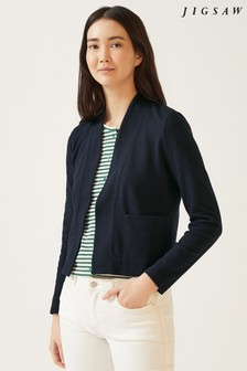 Jigsaw Blue Textured Jersey Jacket