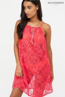 Accessorize Pink Strappy Lace Dress
