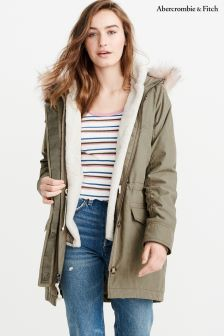 Abercrombie & Fitch Olive With Pink Faux Fur Hood Parka
