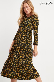 Free People Black Tiers Of Joy Floral Midi Dress