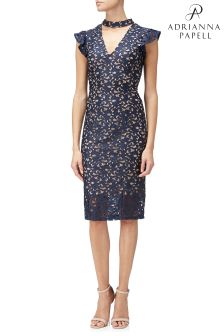 Adrianna Papell Blue Lucy Scroll Lace Ruffle Sheath