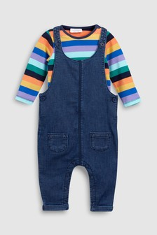 Dungaree And Multi Stripe Bodysuit Set (0mths-2yrs)
