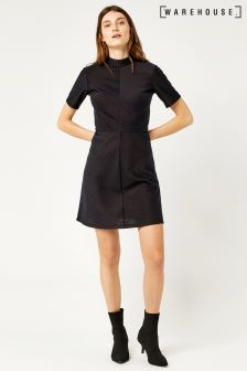 Warehouse Navy/Bronze Stripe Pinstripe Dress