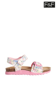 F&F Natural Floral Footbed Sandals