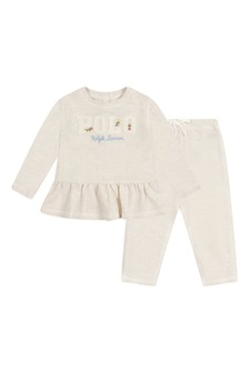 Baby Girls Ivory Cotton Two Piece Set