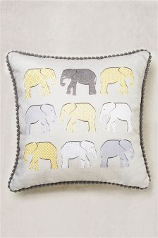 Elephant Pom Trim Cushion