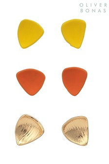 Oliver Bonas Yellow Spruce Single Petal Form Earrings Six Pack