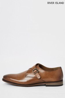 River Island Mid Brown Monk Strap Shoes