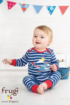 Frugi Organic Blue/Navy And Aeroplane Appliqué Footless Romper