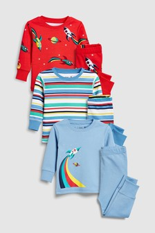 Planet/Stripe Snuggle Fit Pyjamas Three Pack (9mths-8yrs)