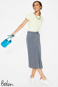 Boden Ticking Stripe Mira Denim Skirt