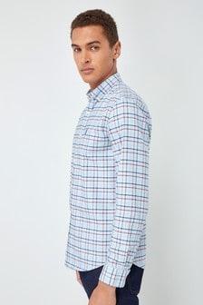 长袖染色格子衬衫