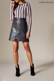 Karen Millen Black Faux Leather Mini Biker Skirt