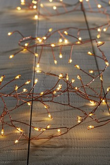 100 led multi cluster copper wire line lights