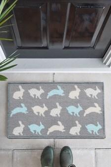Rabbit Family Washable Doormat