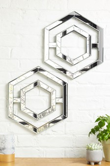 Set of 2 Hexagon Mirror Plaques